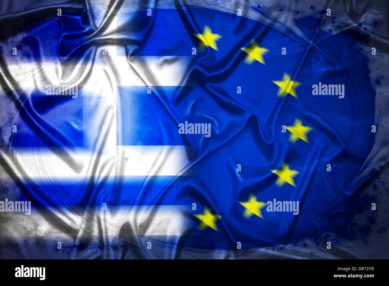 Flags Of Greece And The Eu, Greek Debt Crisis - Stock Image