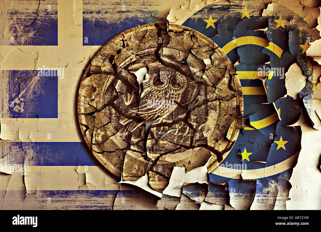 Greek Euro Coin And Ecb Sign On A Grungy Wall, Greek Debt Crisis - Stock Image