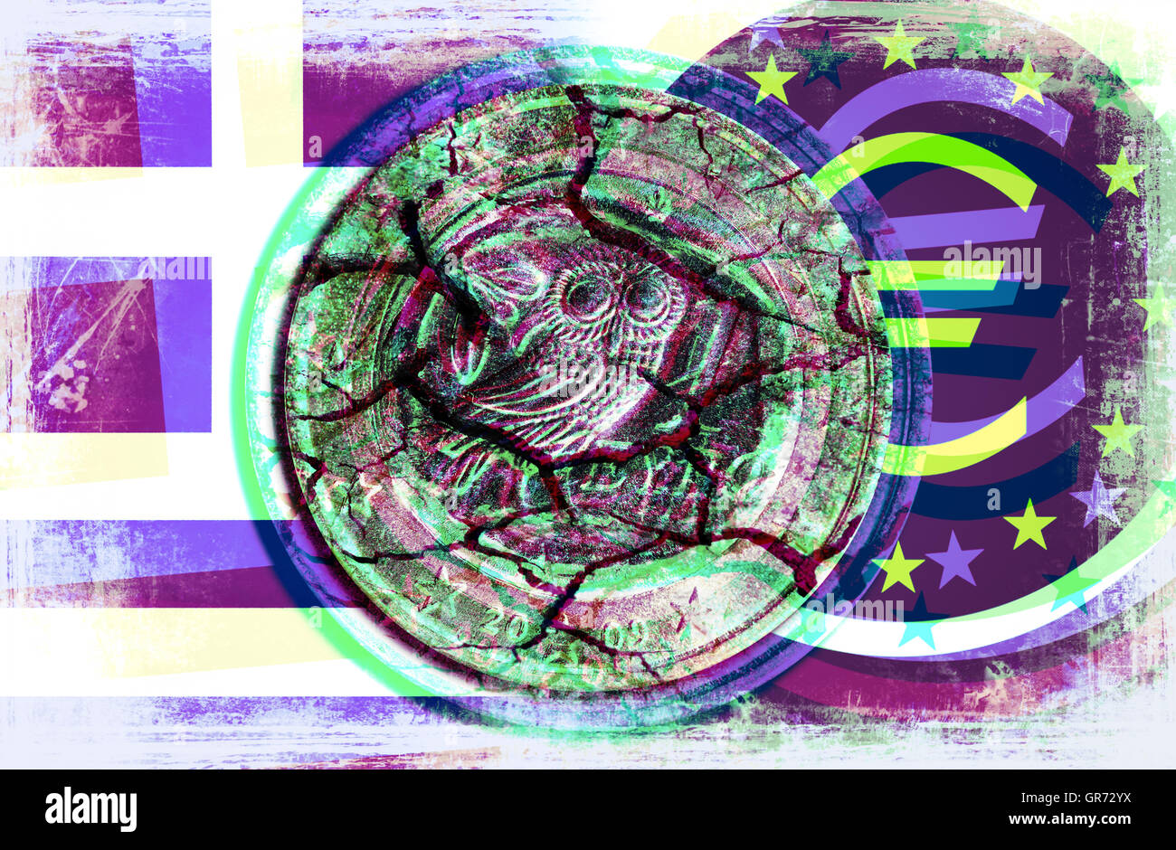 Broken Greek Euro Coin And Ecb Sign, Greek Debt Crisis - Stock Image