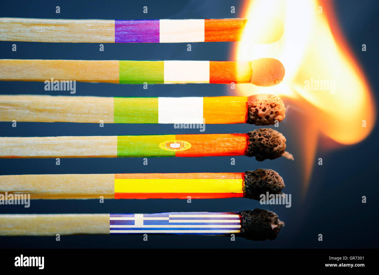 Burning Matches With European Flags, Greek Debt Crisis - Stock Image