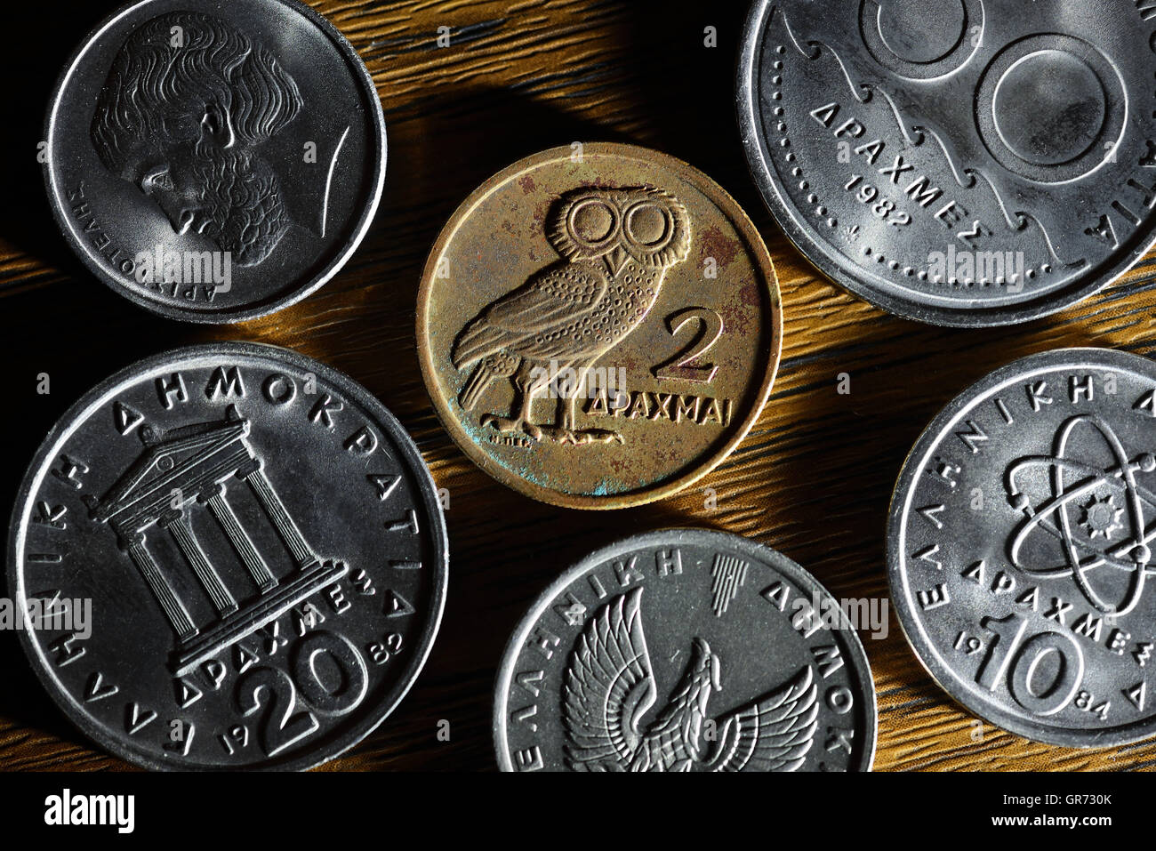 Greek Drachma Coins - Stock Image