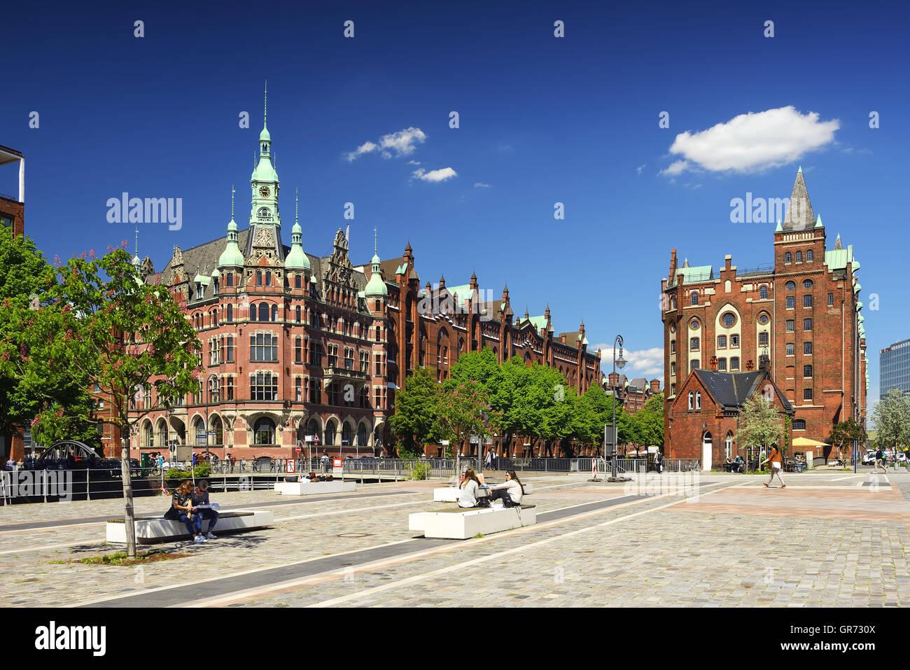 Storehouse District Speicherstadt In Hamburg, Germany - Stock Image