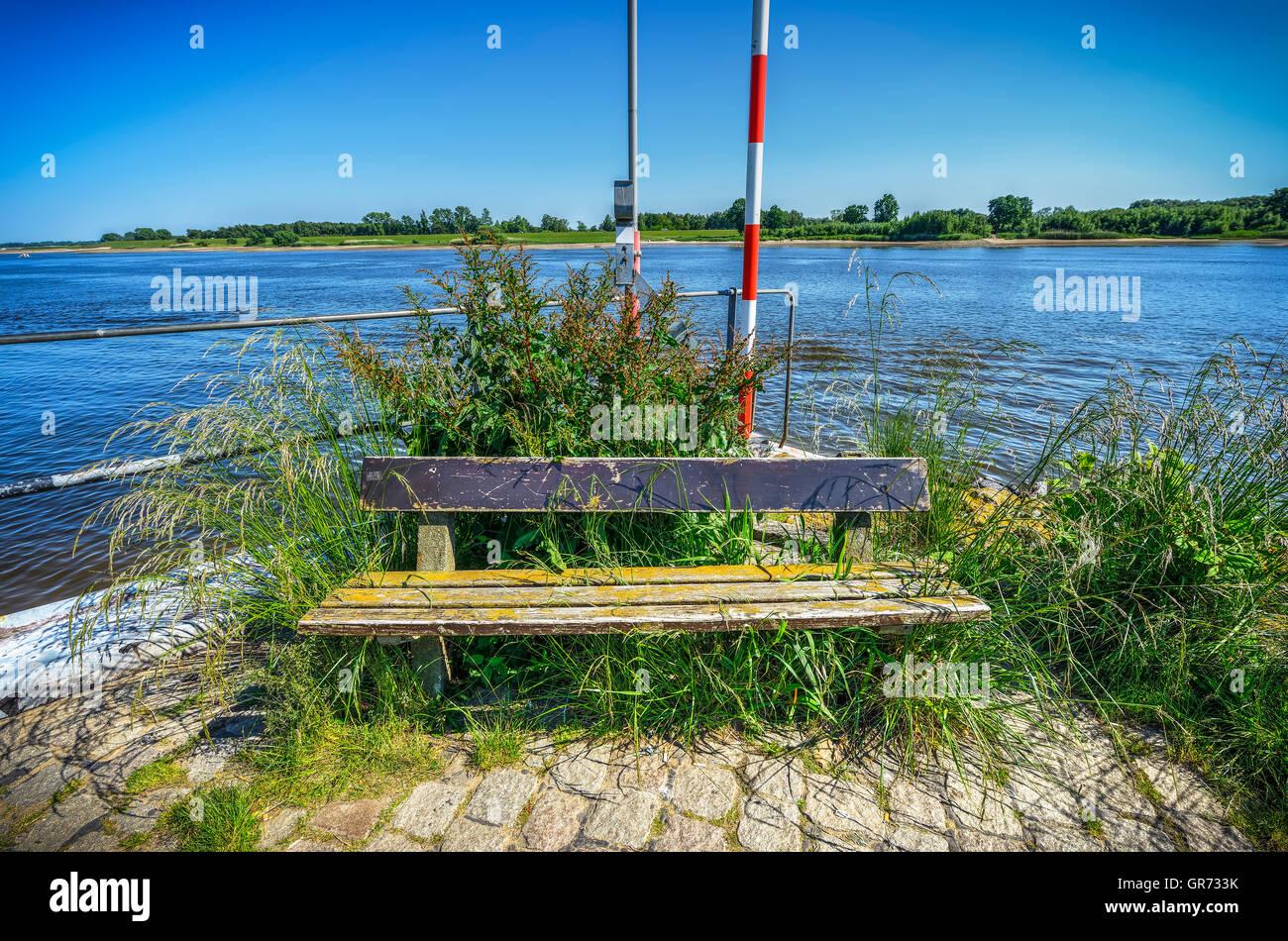 Bench At River Elbe In Hamburg, Germany - Stock Image