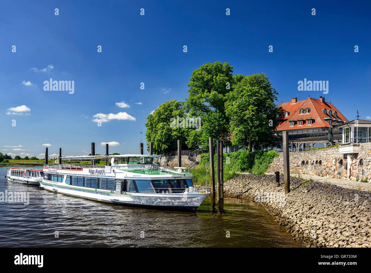 Zollenspieker Ferry House Restaurant And Hotel In Hamburg, Germany - Stock Image