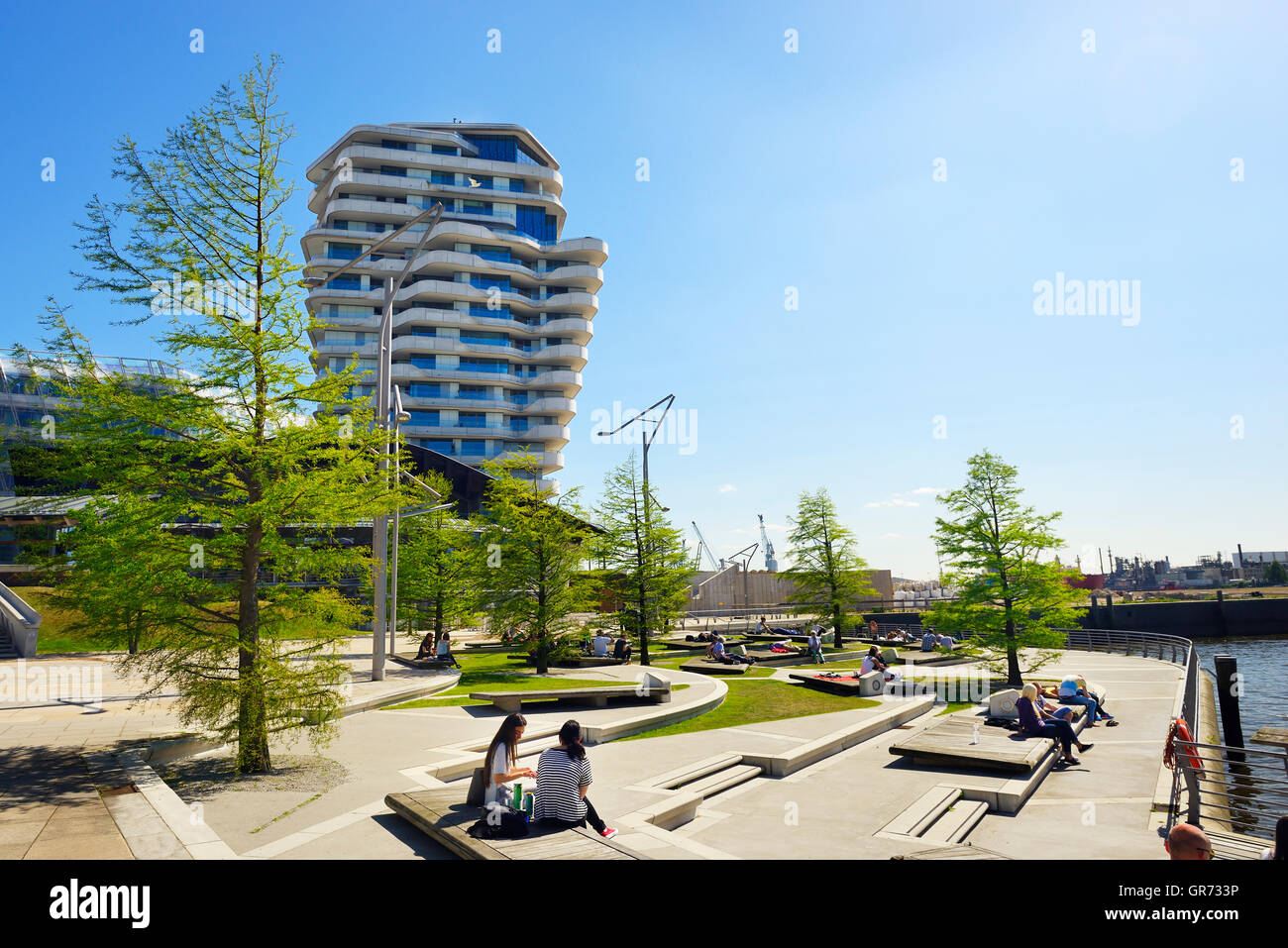 Marco Polo Terraces And Marco Polo Tower In Hamburg, Germany - Stock Image