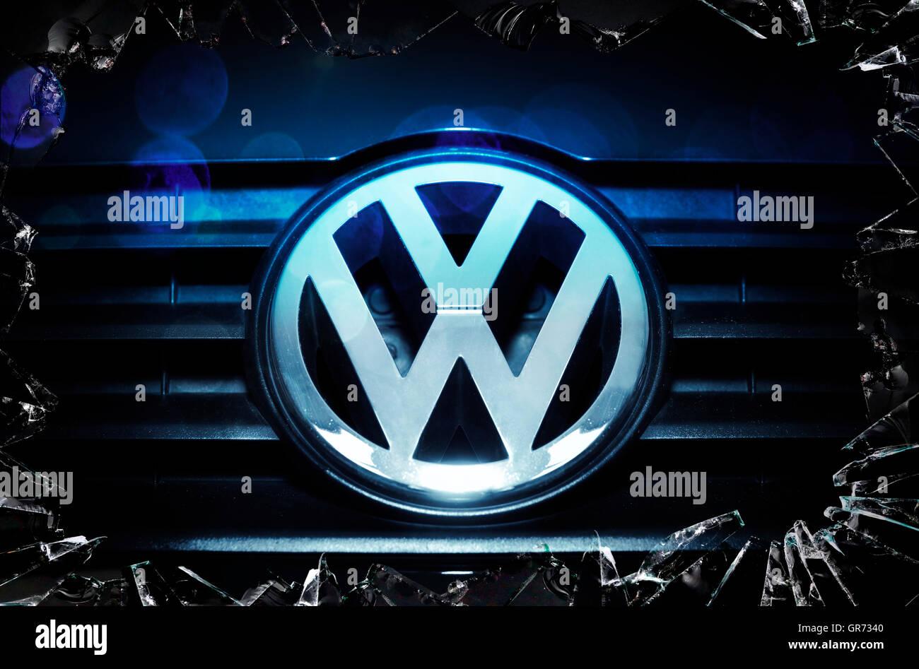 Vw Emblem, Vw Exhaust Gases Scandal - Stock Image