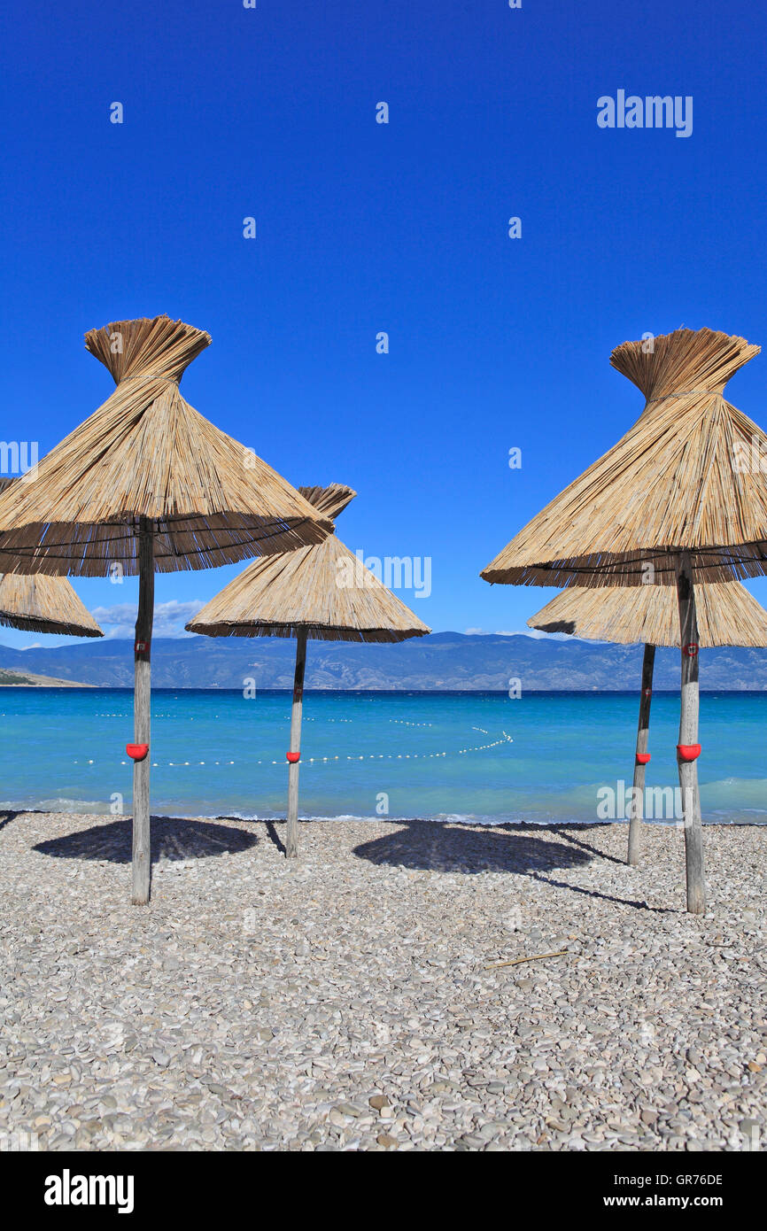 Beach, Baska, Island Krk, Croatia, Europe - Stock Image