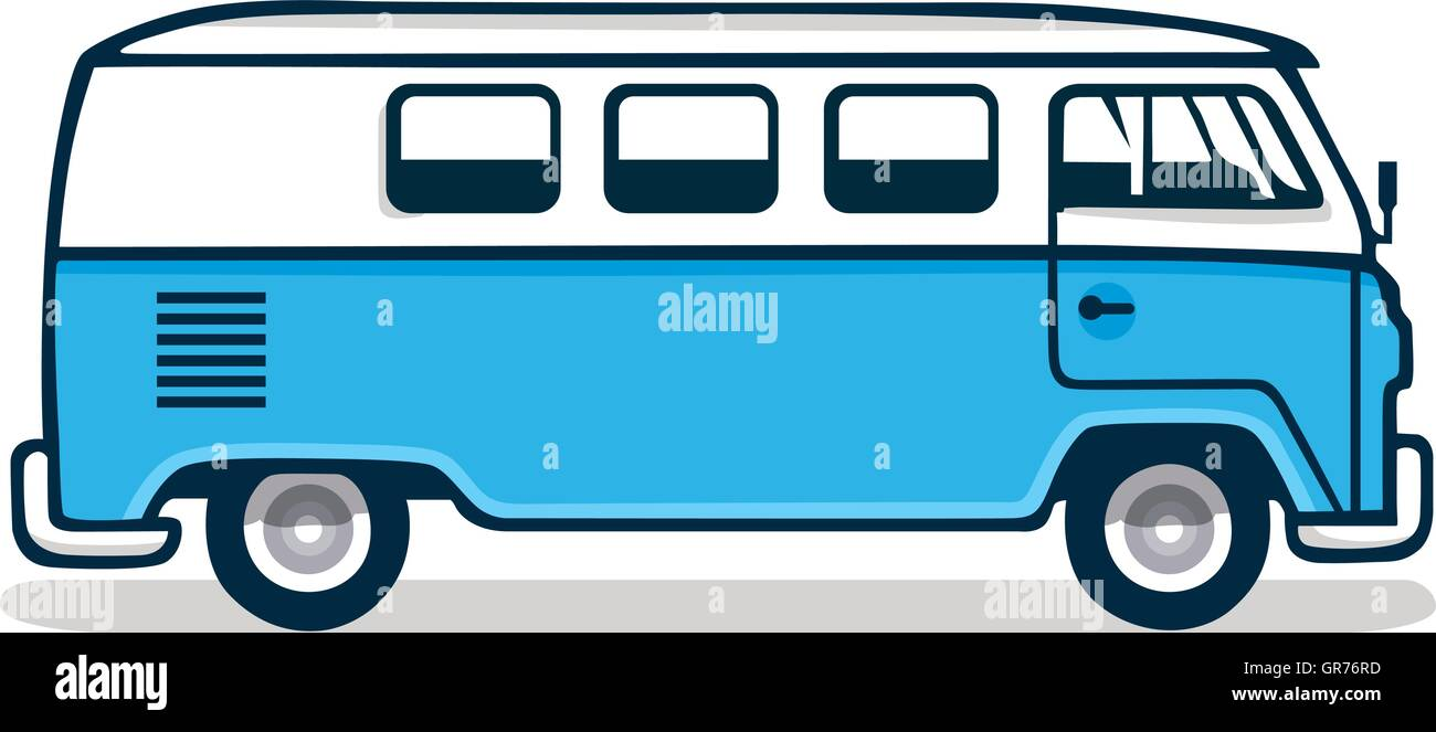 Vintage Blue Van Vector Illustration - Stock Vector