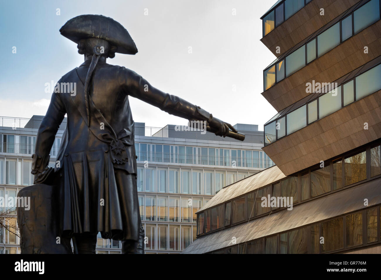 Statue Of Prussia Jakob Von Keith On Zietenplatz In Berlin Mitte - Stock Image