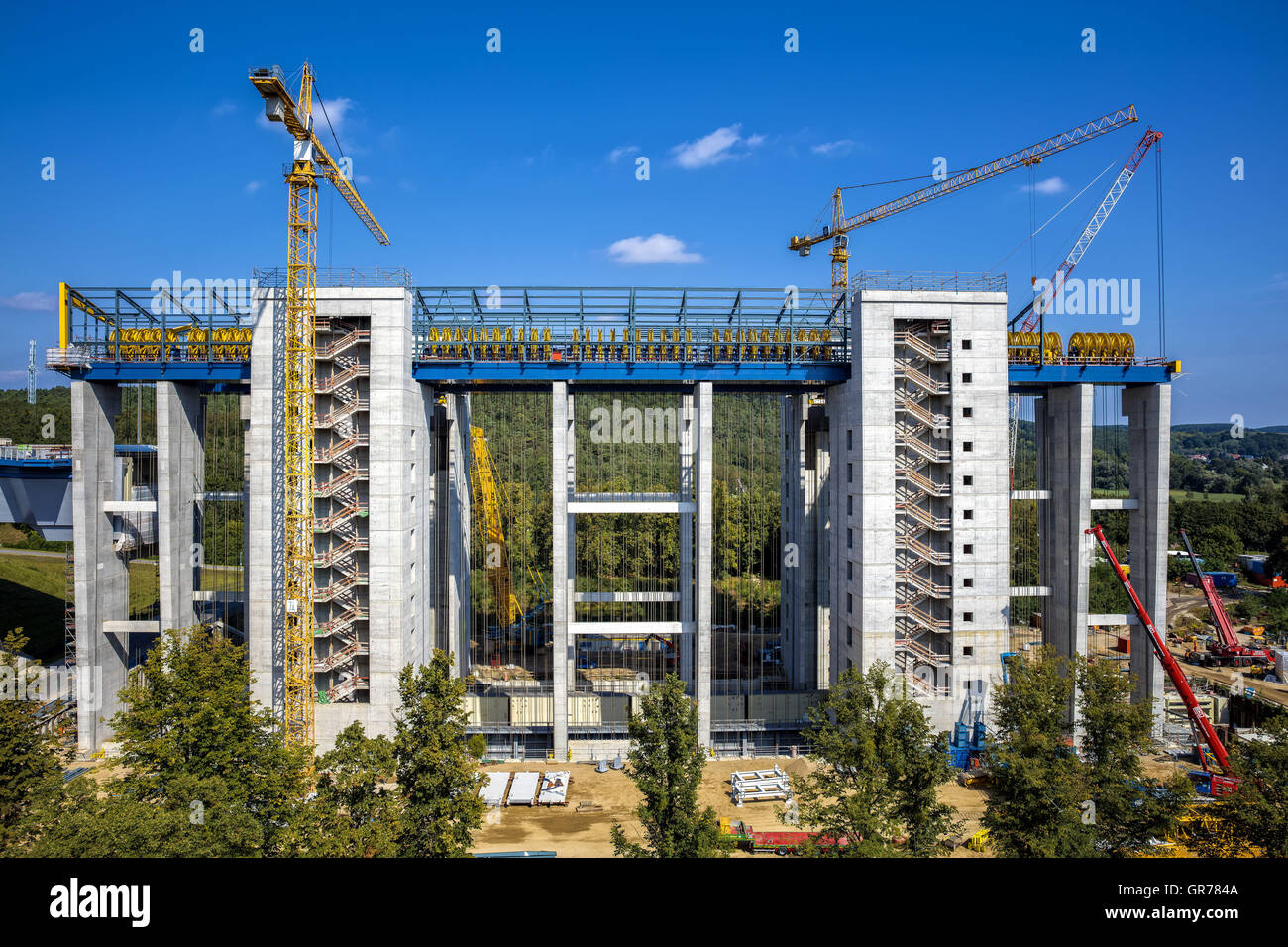 Property Under Construction New Boat Lift In Niederfinow Directly Next To The Historic Old Elevator - Stock Image