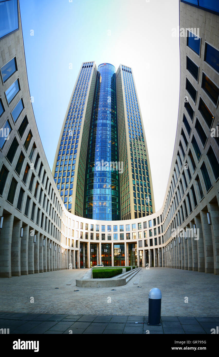 PWC building building in financial city Frankfurt am Main Germany Europe - Stock Image