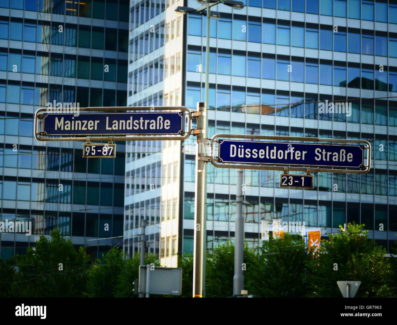 Street sign European financial city Frankfurt am Main Germany Europe Stock Photo