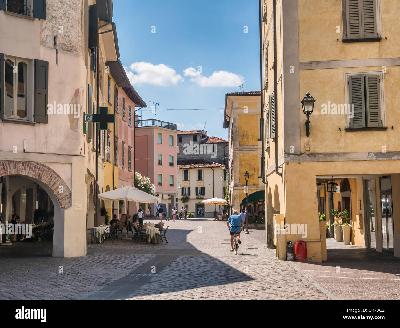 Cty square in Iseo Village at lake Iseo in Italy - Stock Image