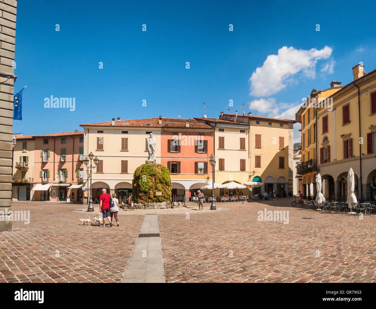 City square in Iseo Village at lake Iseo in Italy - Stock Image