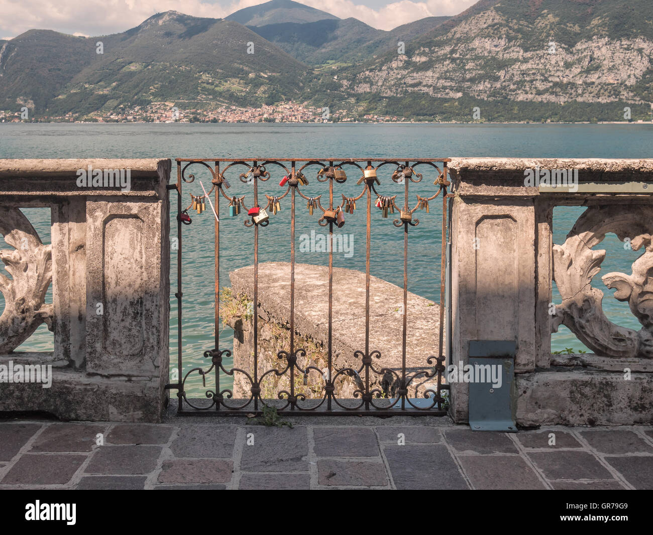 Love lockers in Iseo Village at lake Iseo in Italy - Stock Image