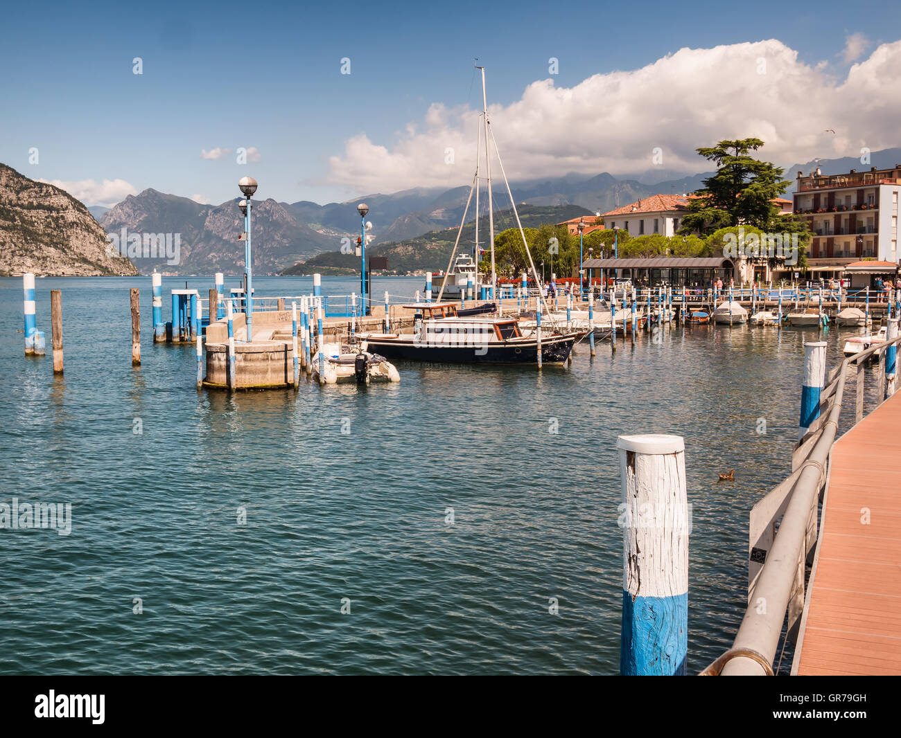 Marina in Iseo Village at lake Iseo in Italy - Stock Image