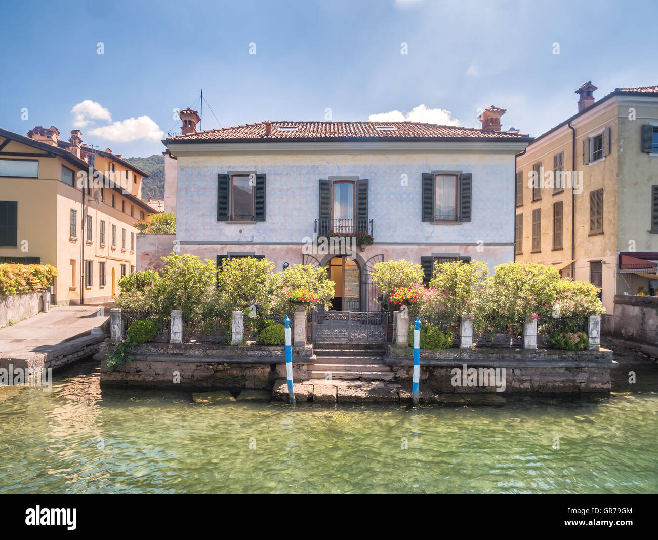 Homes in Iseo Village at lake Iseo in Italy - Stock Image