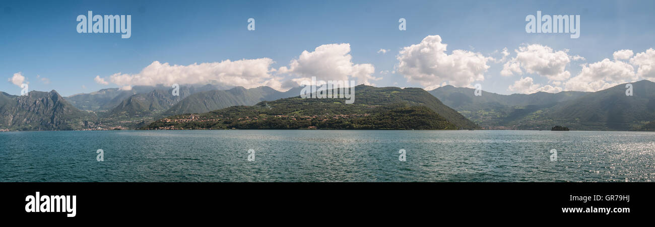 Isola Monte in lake Iseo in Italy - Stock Image