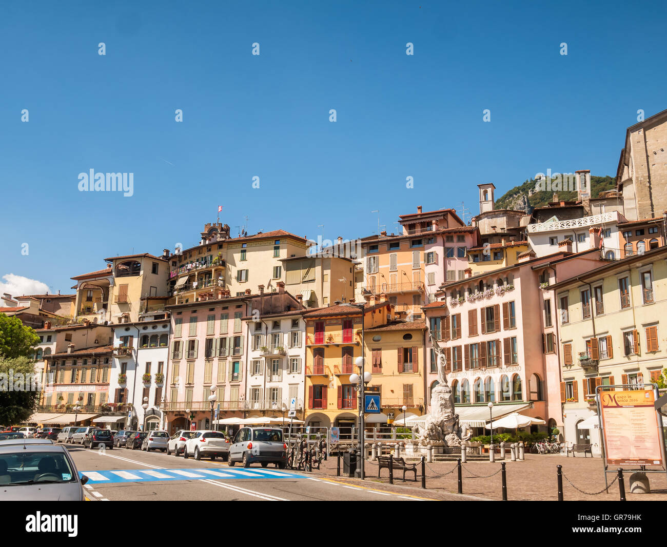 City of Lovere at lake Iseo in Italy - Stock Image