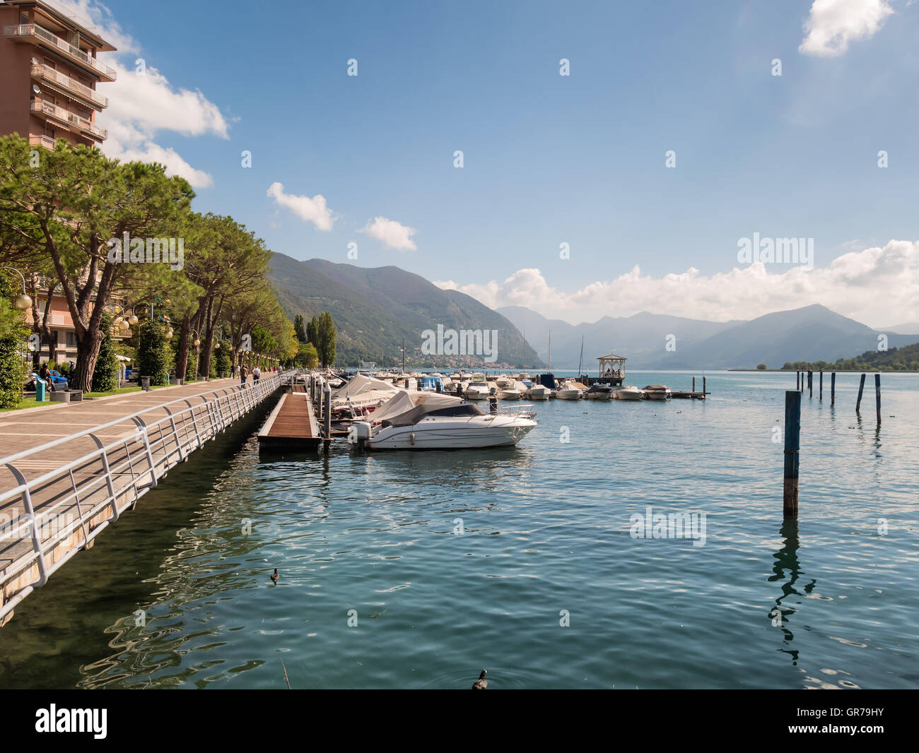 Sarnico village at the lakeside of lake Iseo in Italy - Stock Image