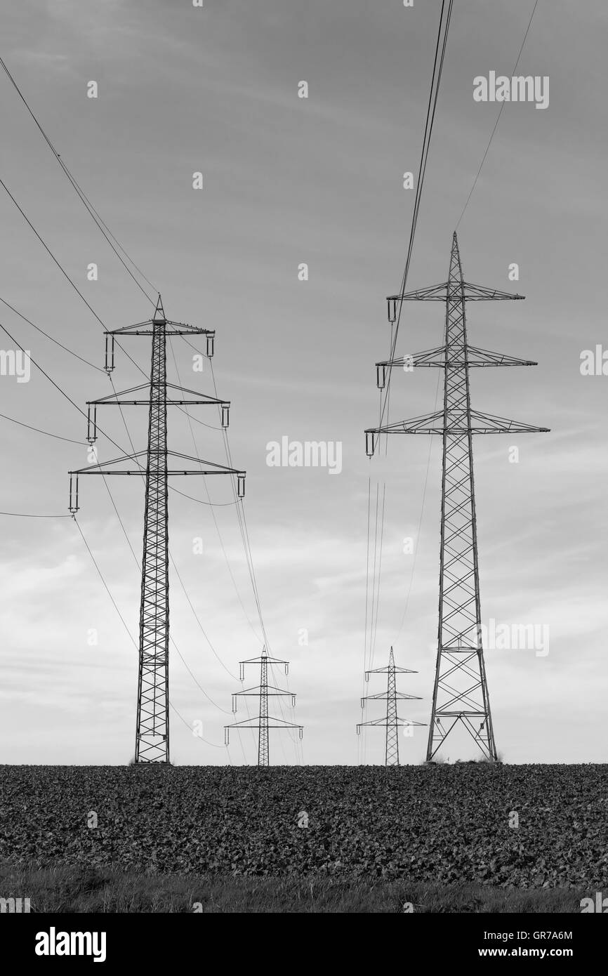 Electricity Pylon In The Osnabrueck Country Region, Lower Saxony, Germany - Stock Image