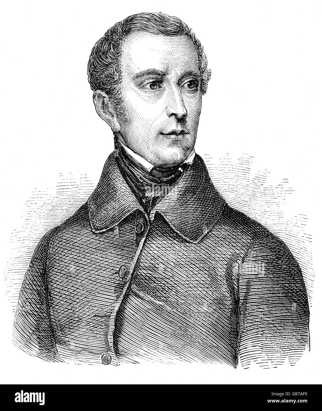 Alphonse Marie Louis de Prat de Lamartine, Chevalier de Pratz (1790 – 1869), was a French writer, poet and politician - Stock Image