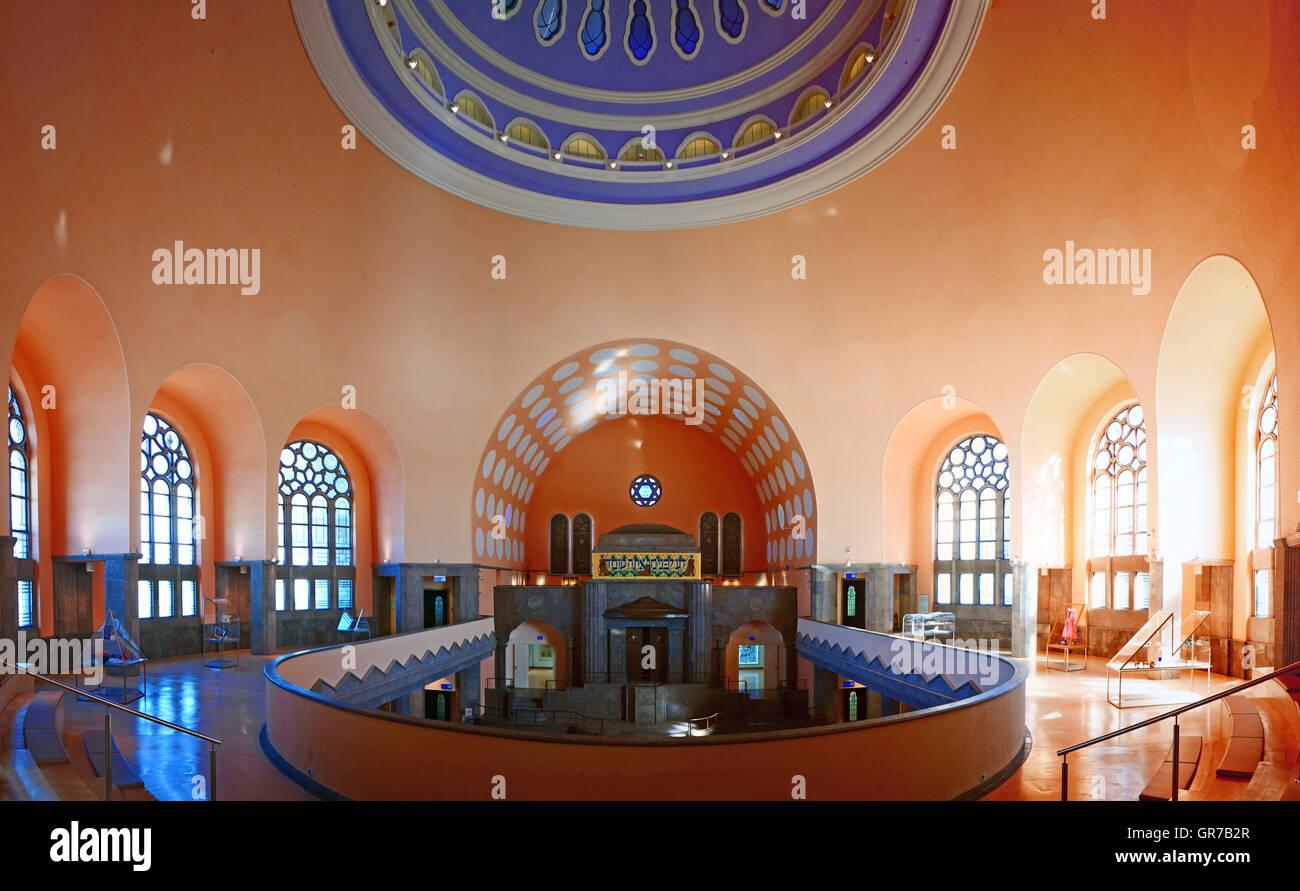 Old Synagogue interior Essen Nordrhein Westfalan Germany Europe - Stock Image