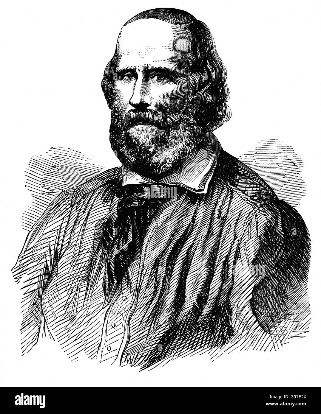 Giuseppe Garibaldi (1807 - 1882) was an Italian general, politician and nationalist who played a large role in the - Stock Image