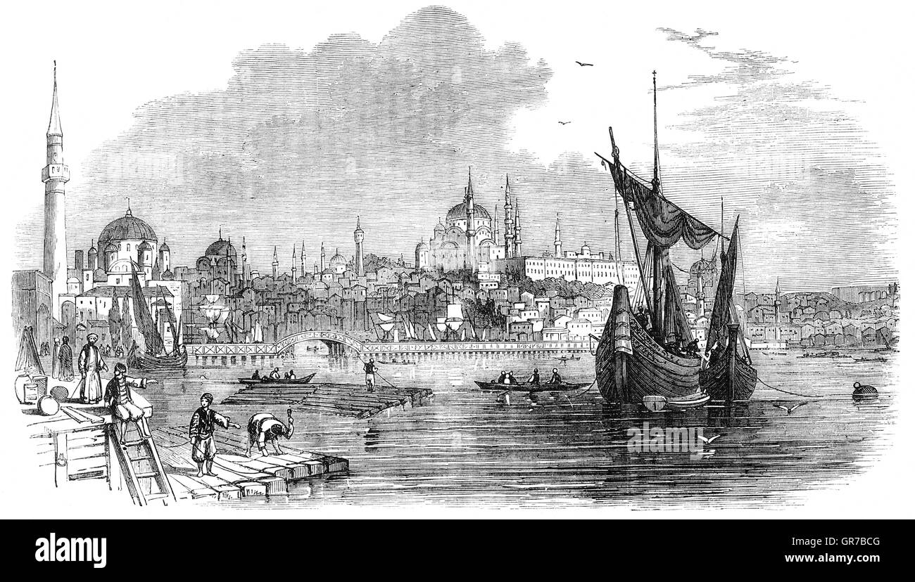 19th Century view of Constantinople (Now Istanbul) was the capital city of the Roman/Byzantine Empire and the later - Stock Image