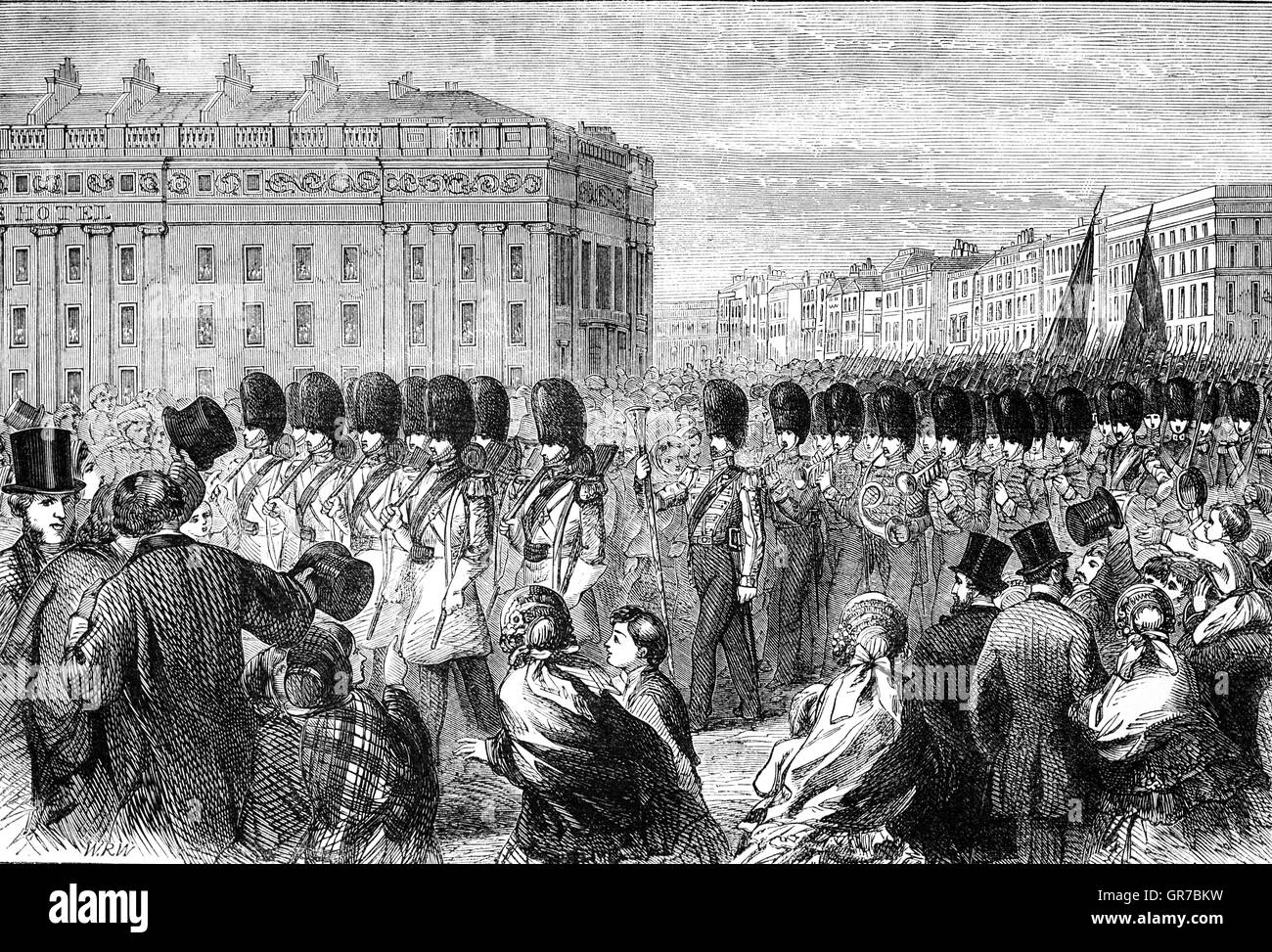The Departure of the Grenadier Guards from London for the Crimean War 1854. - Stock Image