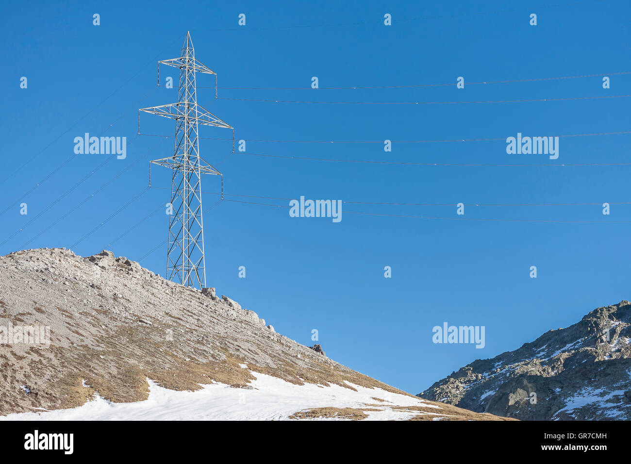 Mast Of A Landline On 2400 M Above The Summit Of The Albula Pass - Stock Image