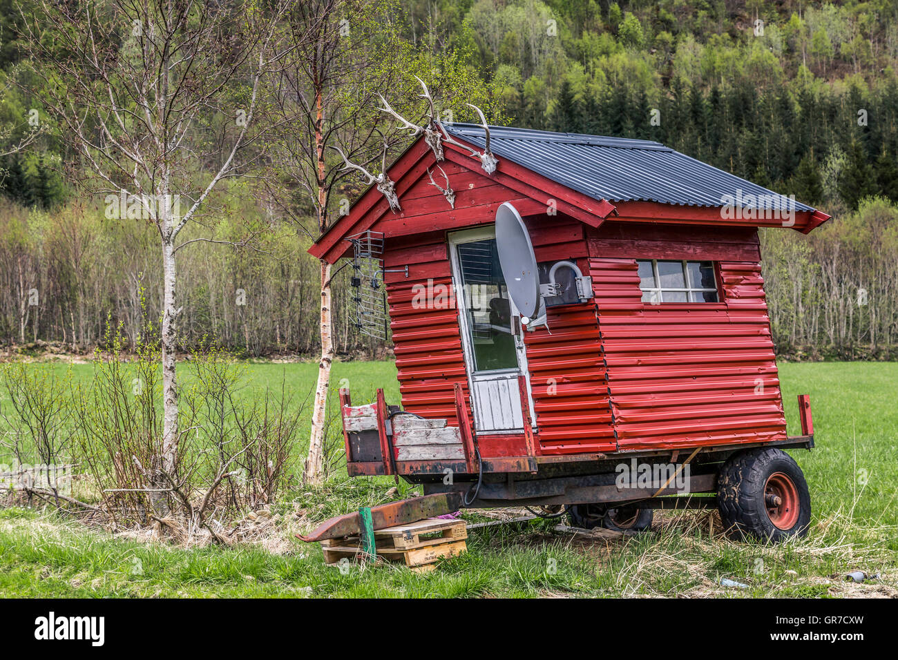 Norwegian Shepherd S Hut Technically Up To Date - Stock Image