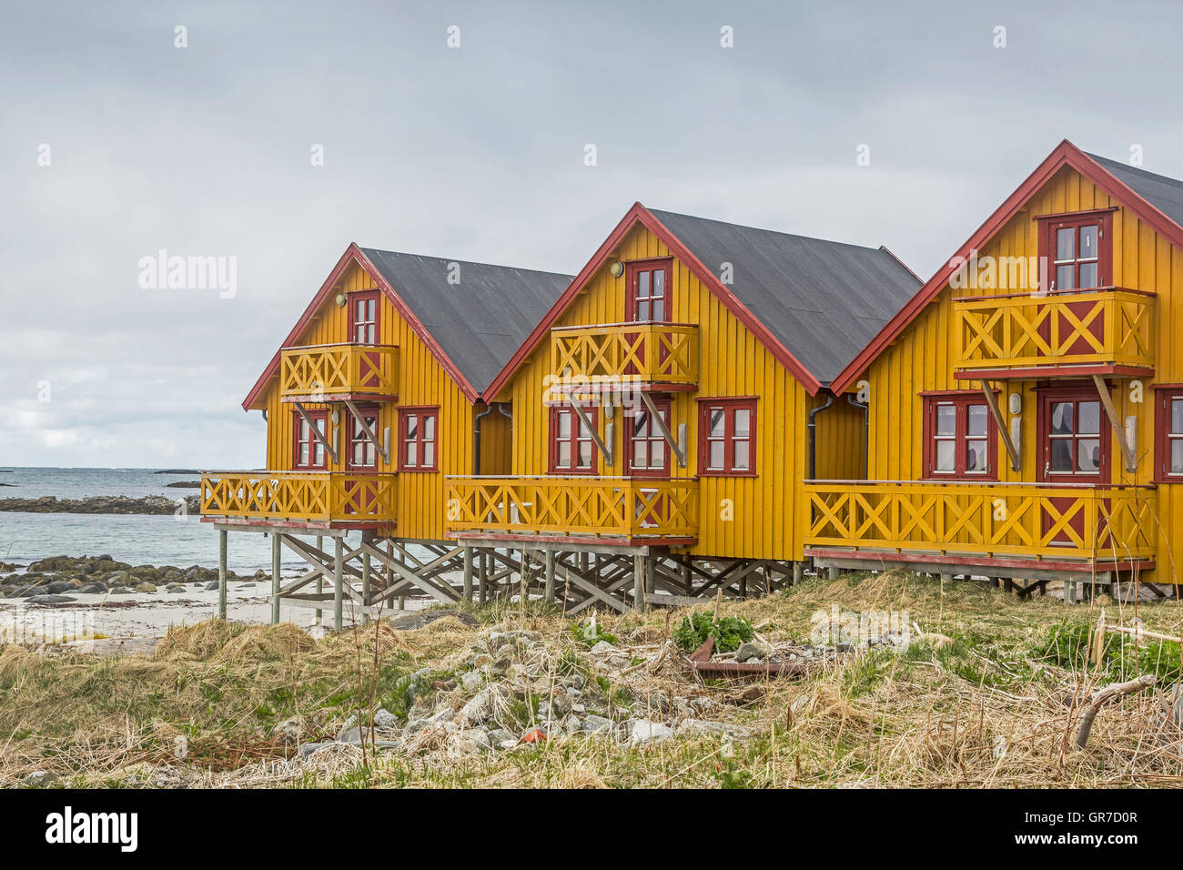 Rorbus Cottages On The Island Andoya Stock Photo