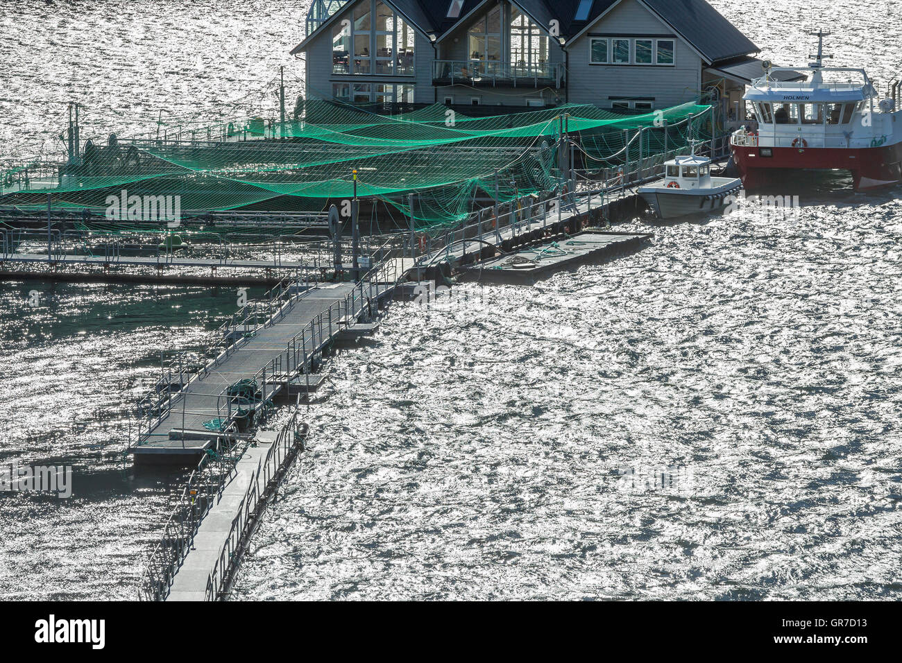 The Norwegian Aquaculture Is Often Based On Net Cages In The Open Sea Or In Bays And Is Mainly Used For Breeding - Stock Image