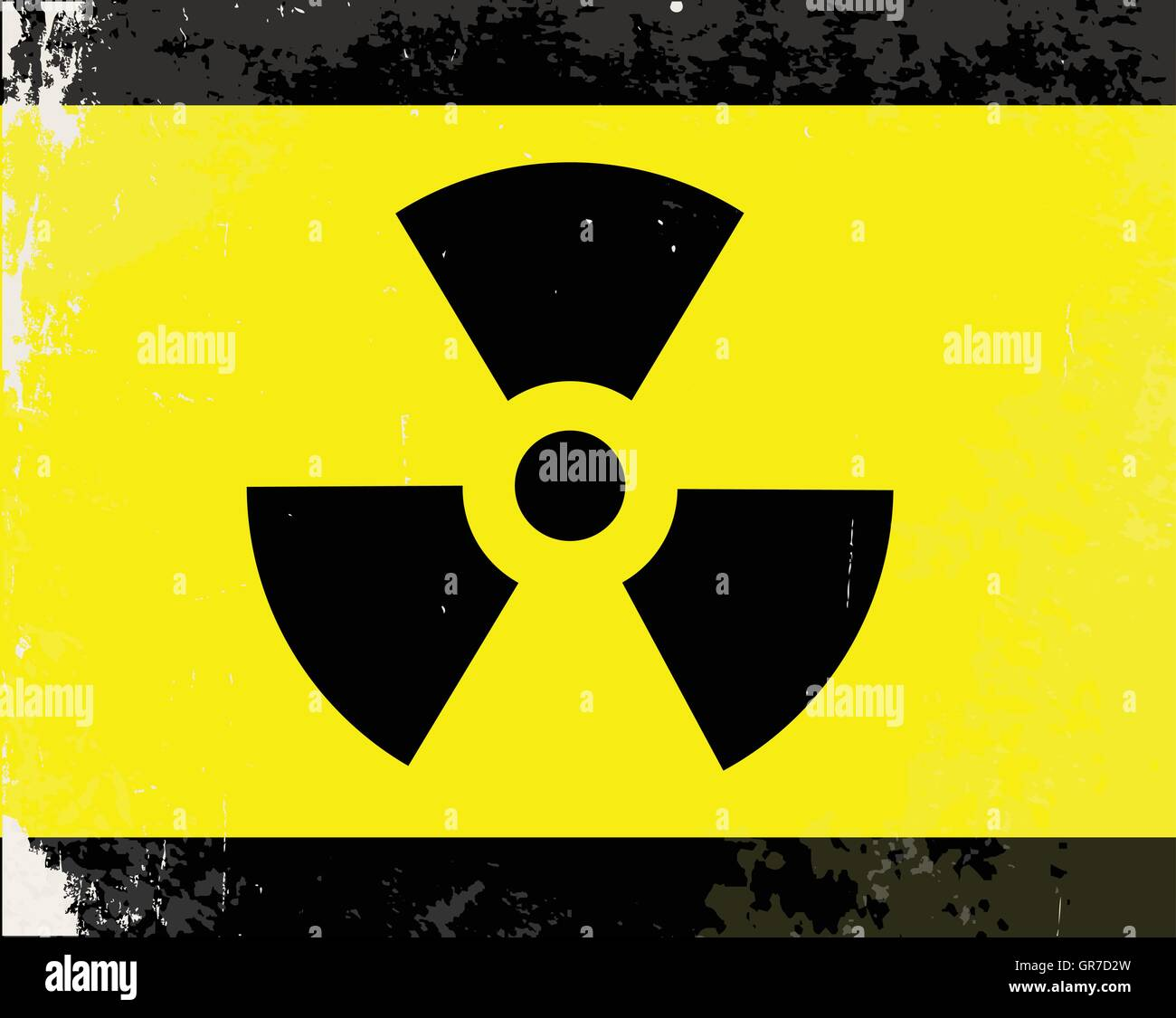 A worn Caution Radiation symbol in yellow and black - Stock Vector