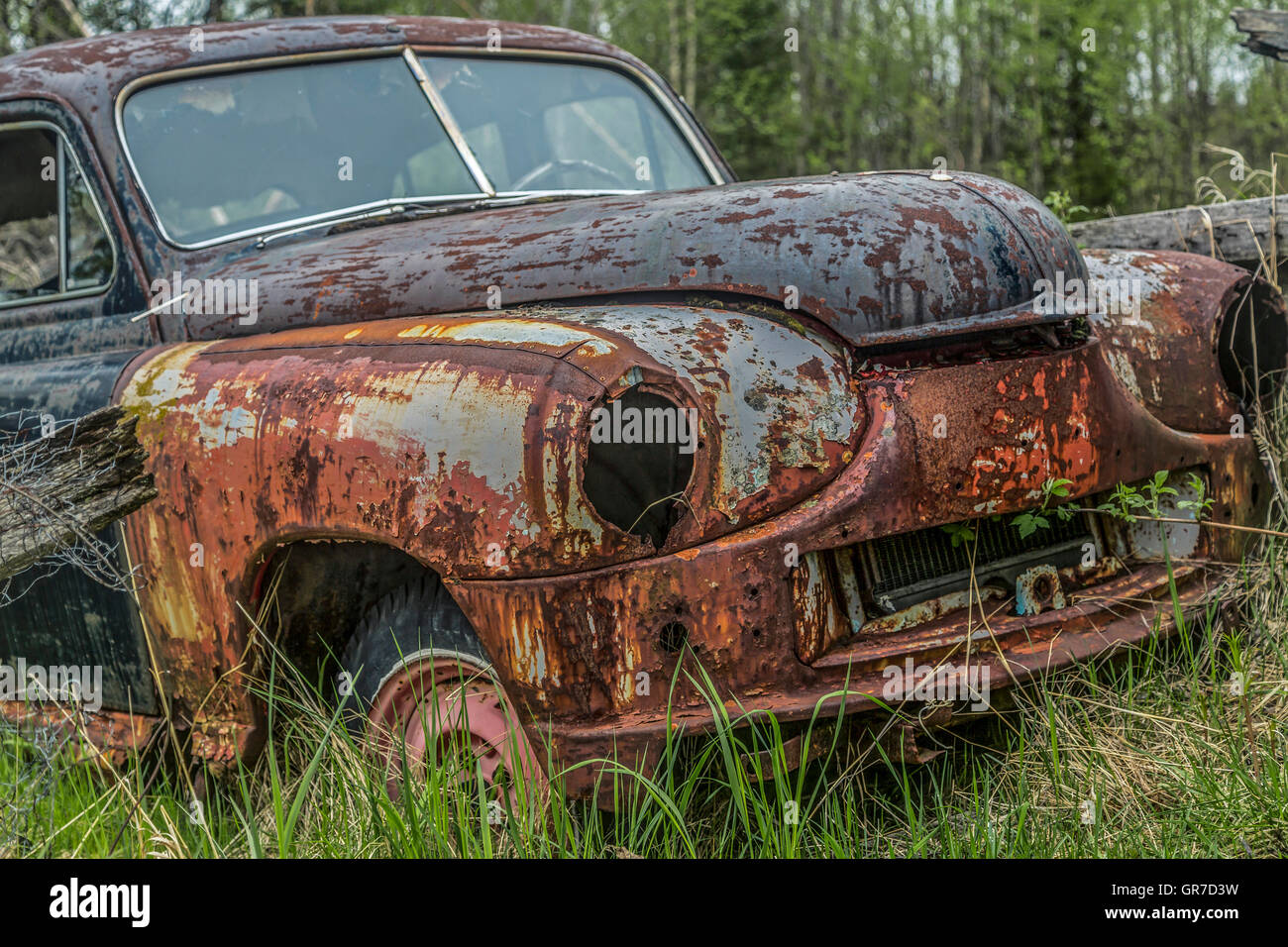 Parked In The Woods And Then Forgotten - Stock Image