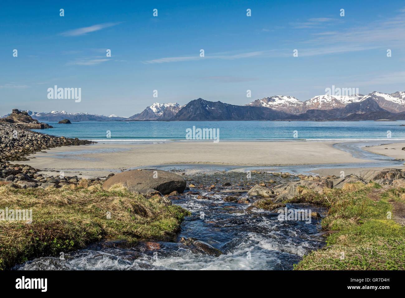 Torrent With Sandy Beach On The Lofoten Vestvagoy - Stock Image