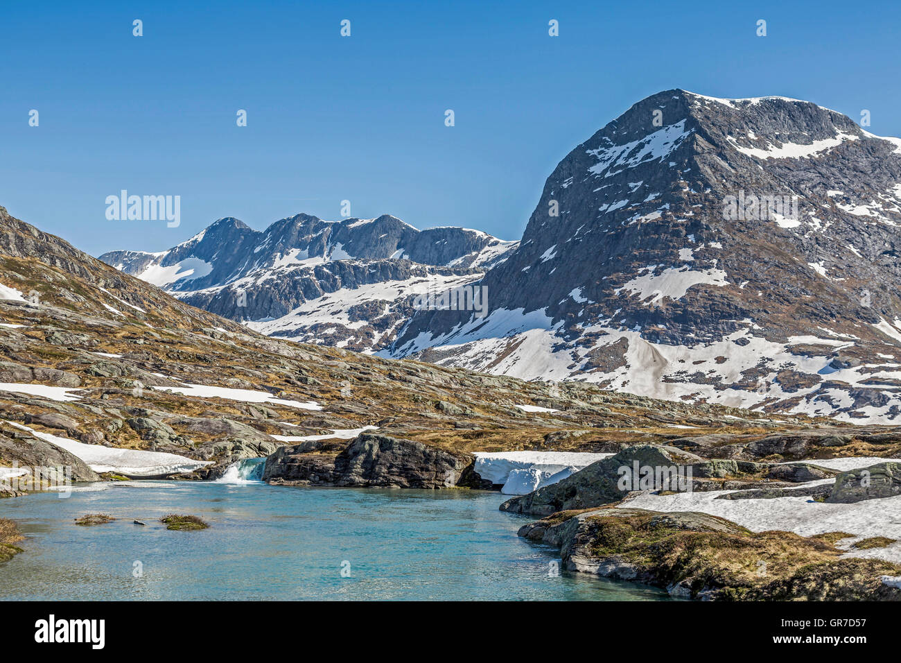 Lake At The Pass Of Trollstigen In The Romsdal Alps - Stock Image