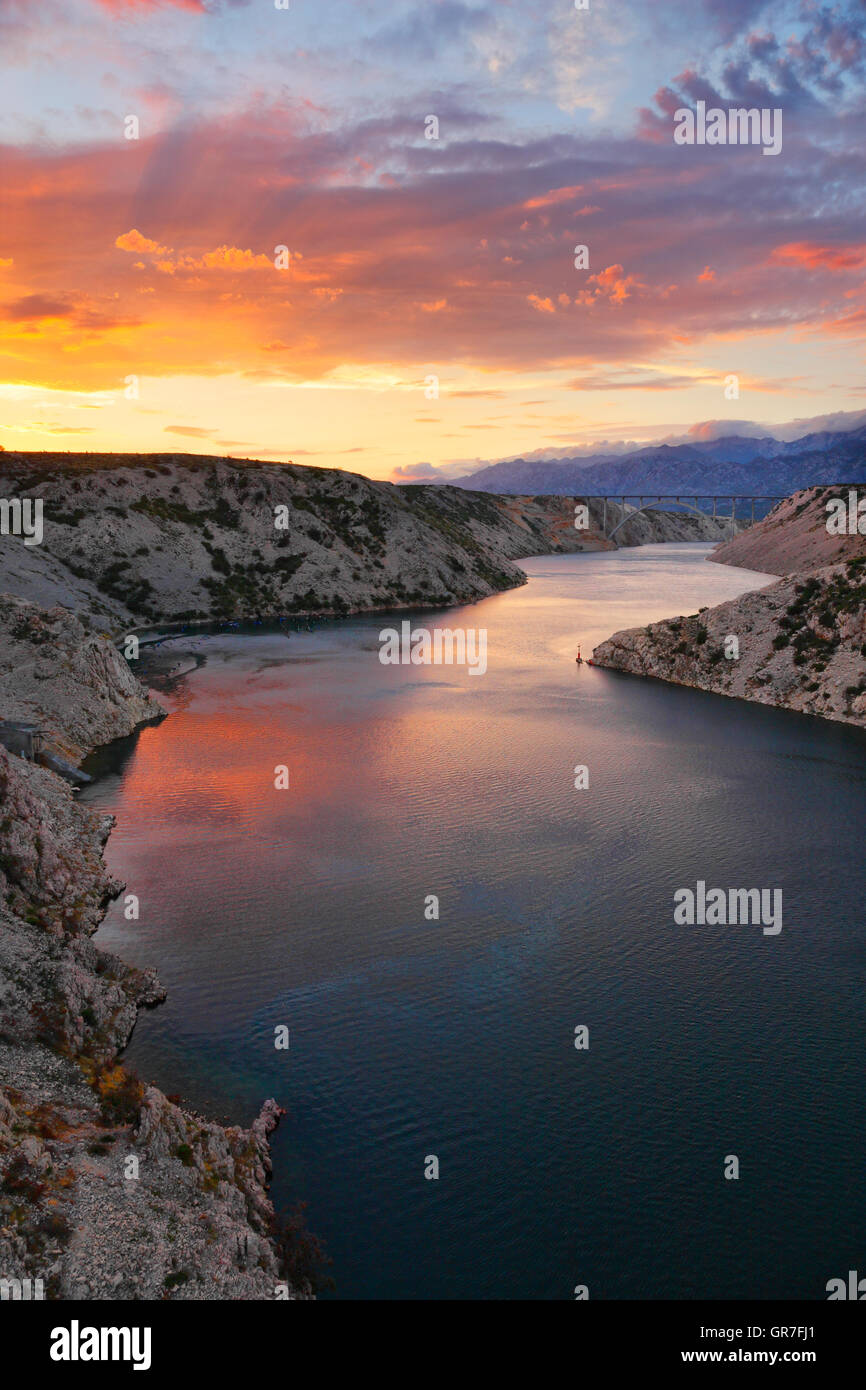 Bridge A1 highway Maslenica at cloudy colorful sunset Stock Photo