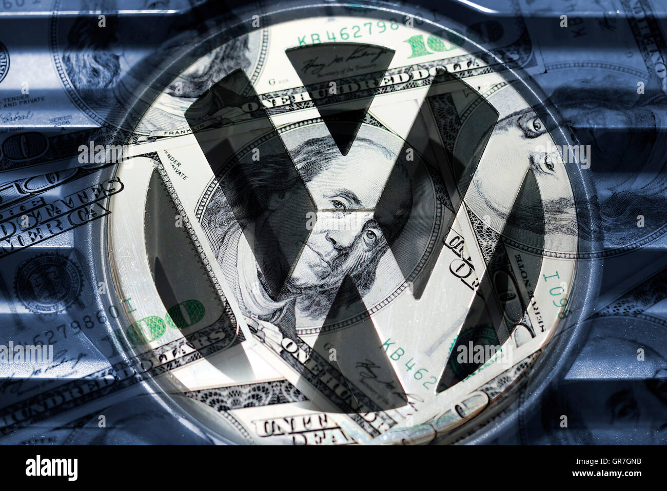 Vw Emblem And Dollar Bills, Vw Exhaust Gases Scandal - Stock Image
