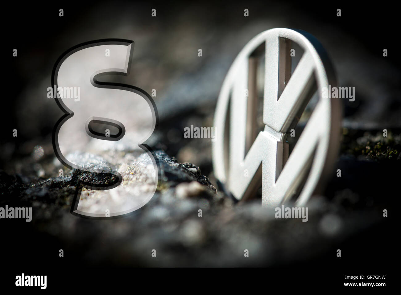 Vw Logo And Paragraph Sign, Vw Scandal - Stock Image