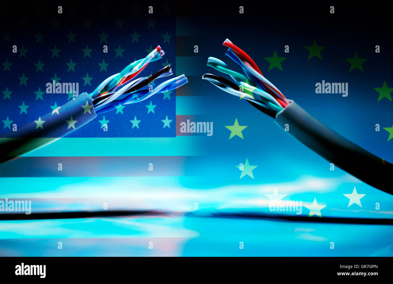 Torn Data Cable And Flags Of The Usa And The Eu, Safe Harbor Statement Stock Photo
