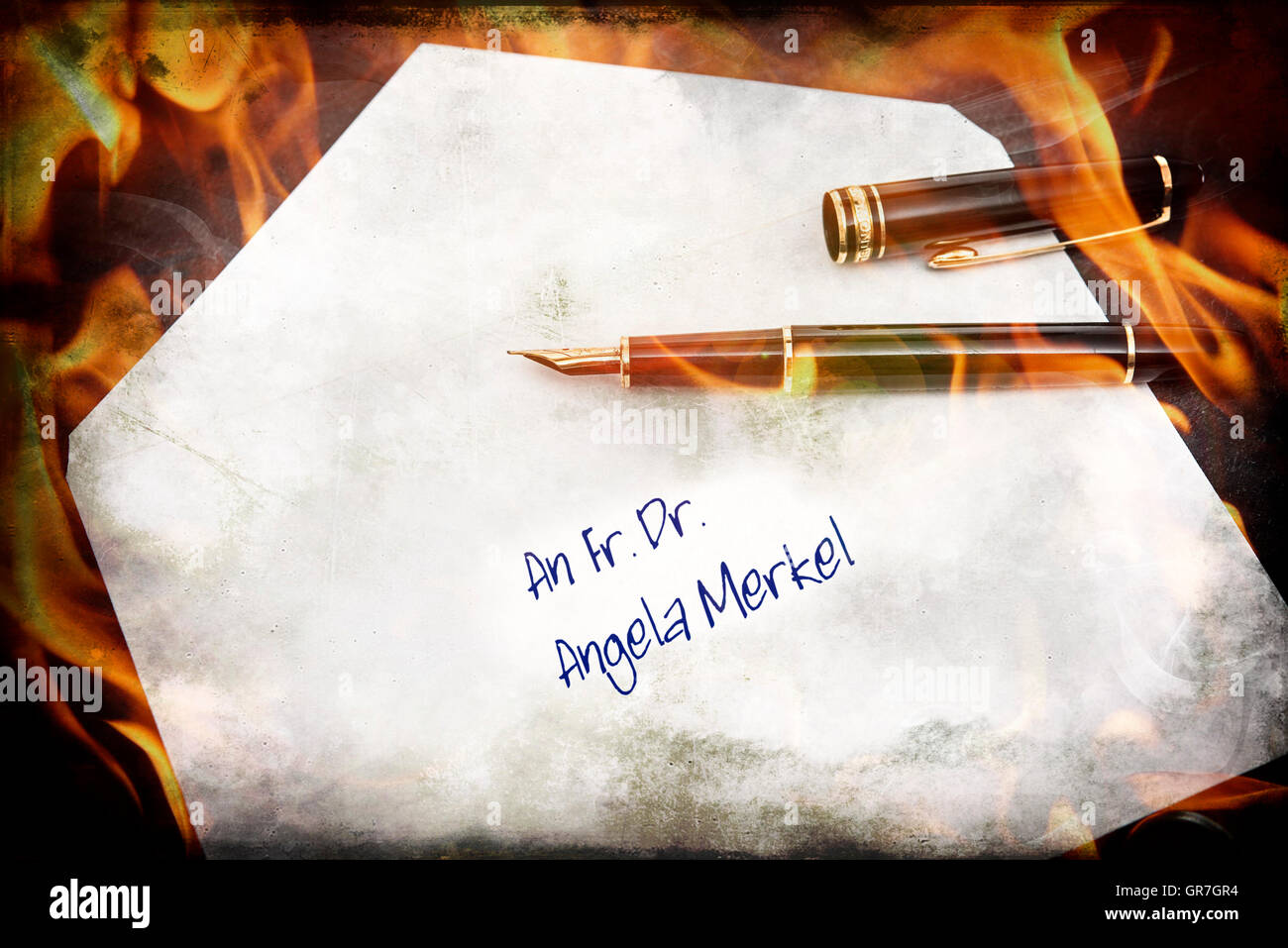 Dunning Letter To The German Chancellor, Symbolic Picture - Stock Image