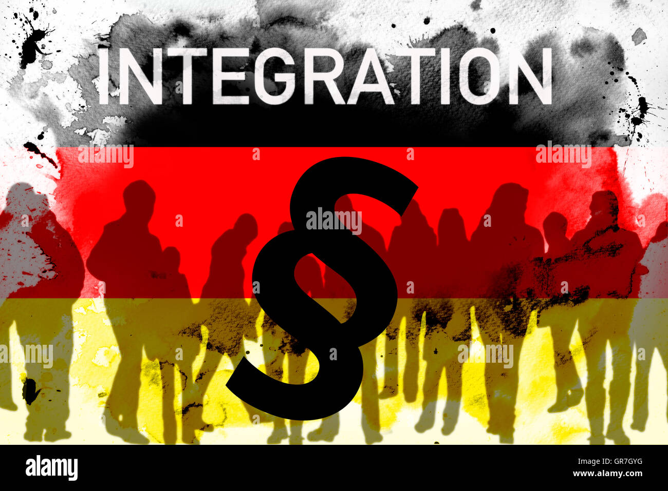 The Word Integration And Paragraph Sign On German Flag - Stock Image