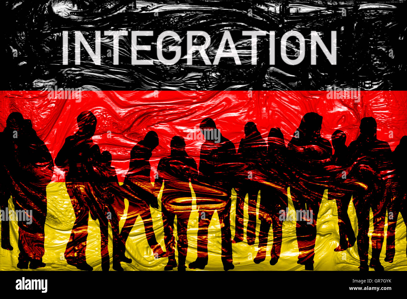The Word Integration On German Flag - Stock Image