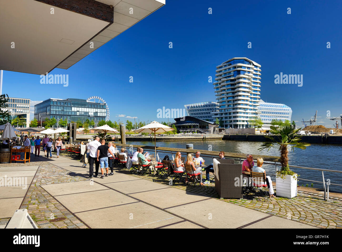 Grasbrook Harbor And Marco Polo Residence Tower In Hamburg, Germany - Stock Image