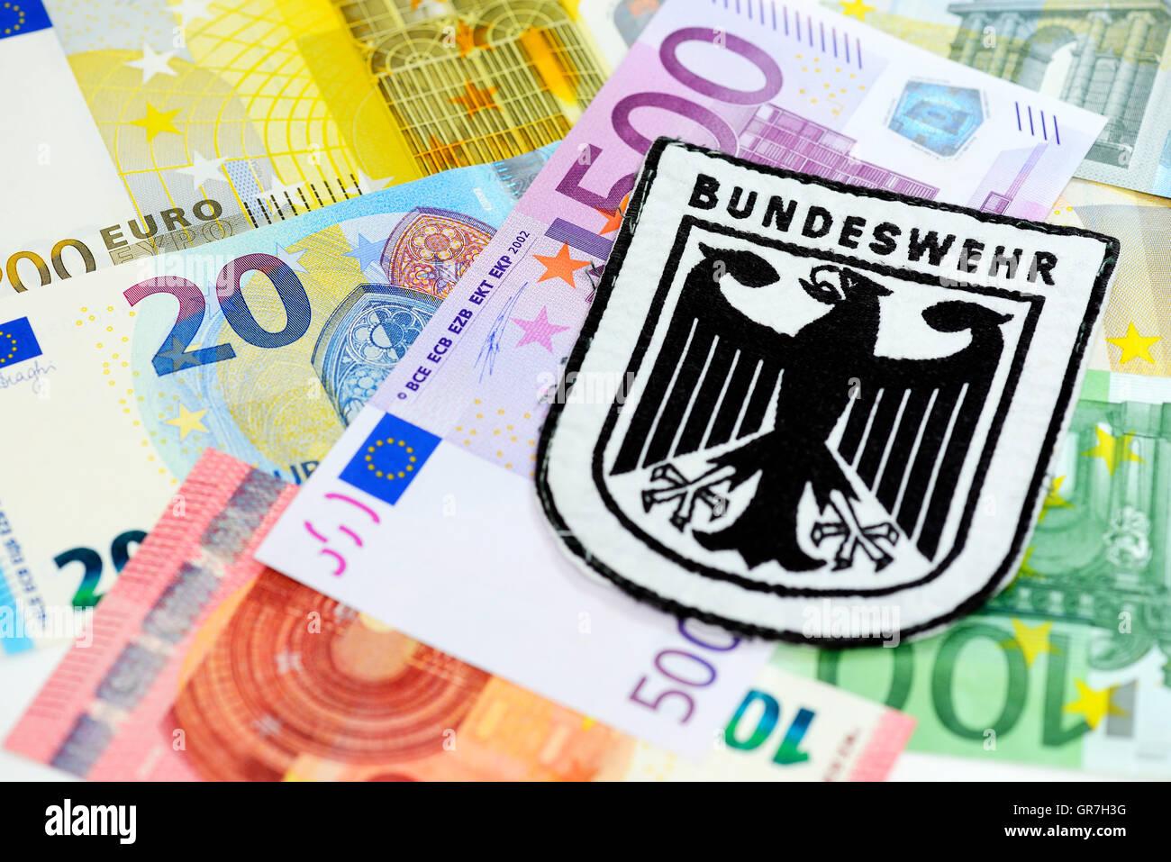 German Armed Forces Emblem On Euro Banknotes, Defense Spending - Stock Image