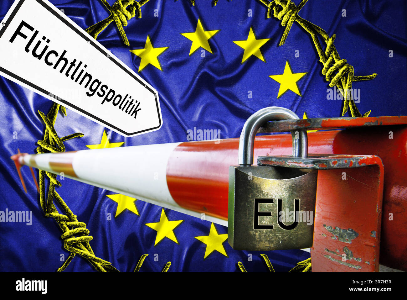 Flag Of The Eu, Barbwire And Border Barrier, Refugee Crisis - Stock Image