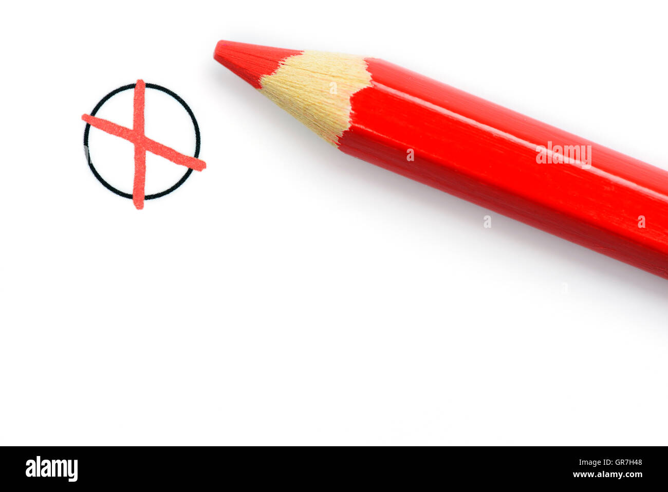Red Colored Pencil And Cross On Ballot - Stock Image