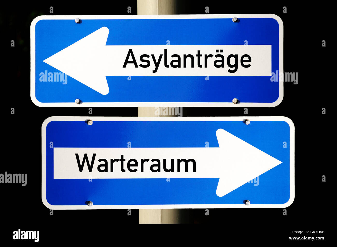 One-Way Street Signs, Refugee Crisis - Stock Image